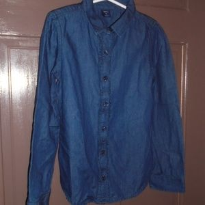 GAP Girls Denim Shirt Blouse Top Size M